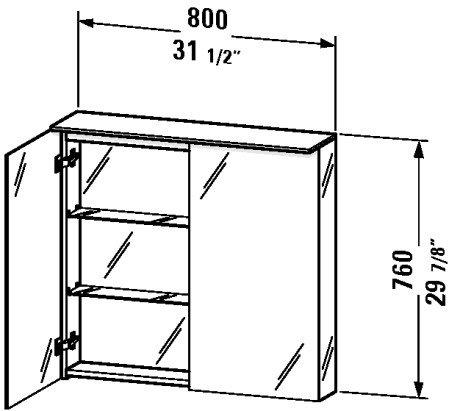 Cabinet Duravit Glass (Duravit DL754200000 - DL mirror cabinet 800x760 760x800x138/208mm, 2 mirror doors)