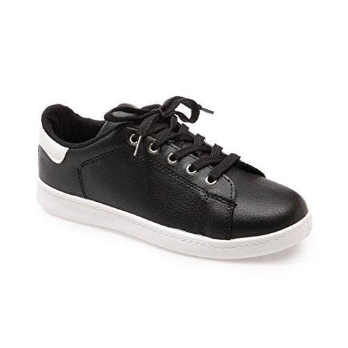 La Modeuse-zapatillas deportivas de piel sintética con tapa Negro - negro