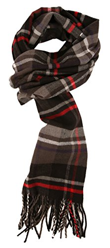 (Love Lakeside-Men's Cashmere Feel Winter Plaid Scarf (One, 001-Gray, Black, Red))