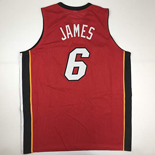 (Unsigned LeBron James Miami Red Custom Stitched Basketball Jersey Size Men's XL New No Brands/Logos)
