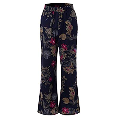 Orangeskycn Women Wide Leg Pants Plus Size Floral Flared Baggy Yoga Long Trousers