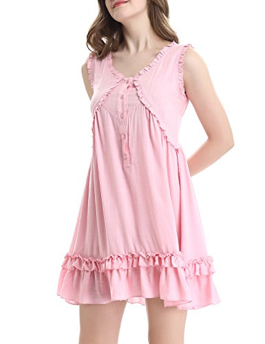 Short Sleepwear Womens XS Ruffle by Dress Pink Sleeveless XL Button Vintage NORA Victorian TWIPS Nightgown I0pF0Zq