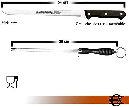 EUROXANTY Cuchillo jamonero | Hoja acero inoxidable | Cuchillo + Chaira | Mango Ergonómico | Cuchillo corte fino | Corte de precisión | Cuchillo 36cm