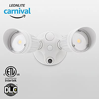 20W Dual-Head Dusk to Dawn LED Outdoor Security Light, Photocell, DLC-listed Exterior Lamp, 120W Halogen Equiv., 3000K Warm White, 1600Lm Floodlight, Entryways, Porch, White