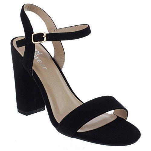 Damen Blockabsatz Knöchelriemen offen Peeptoe Riemchen Party Sandalen Schuhe Größe schwarz Kunstwildleder