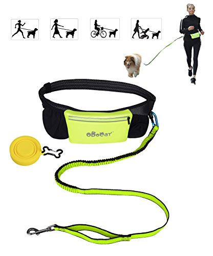 Odocat Hands Free Dog Leash by for Walking, Jogging, Running with Shock Absorbing Bungee Adjustable Waist Belt Waterproof Zippered Pocket Foldable Travel Dog Bowl Ideal for Medium to Large Dogs by Odocat