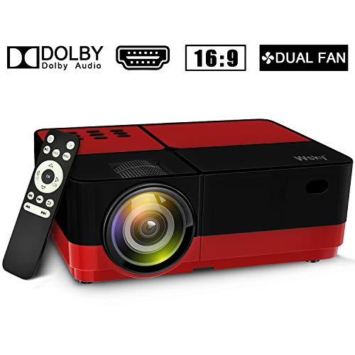 Wsky 2019 Newest LCD LED Outdoor Portable Home Theater Video Projector, Support HD 1080P Best for Outdoor Movie Night, Family, Compatible with Phone, PS4, Xbox, HDMI, USB, SD(Red)