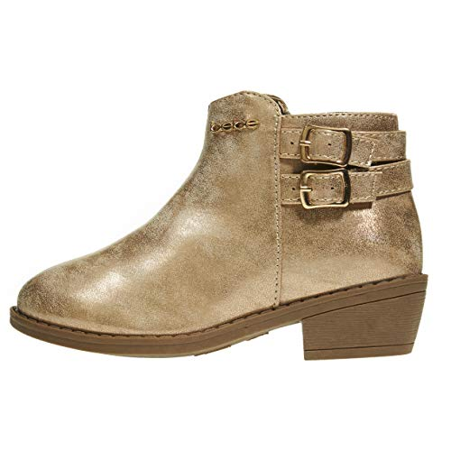 (bebe Girls Ankle Metallic Boots Size 3 Double Buckle Zipper Fashion Shoes Rose Gold)