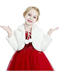 Girls Faux Fur Bolero Shrug Kids Fur Coat Princess Long Sleeve Jacket for Wedding Party Dress 1-12Y Ivory