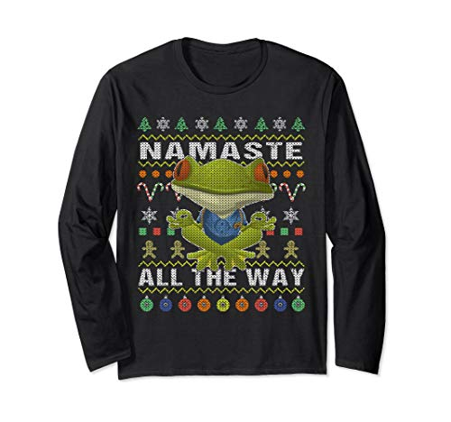Frog Ugly Christmas Long Sleeve Shirt Namaste All The Way