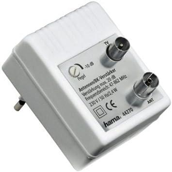 Hama 75044270 - Amplificador de antena (9,52 mm, 1 entrada, 1 salida, 20 dB), color blanco (importado)