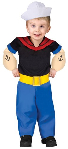 Fun World Boys Popeye Toddler Costume, Multicolor, Large (Popeye Arms Costume)