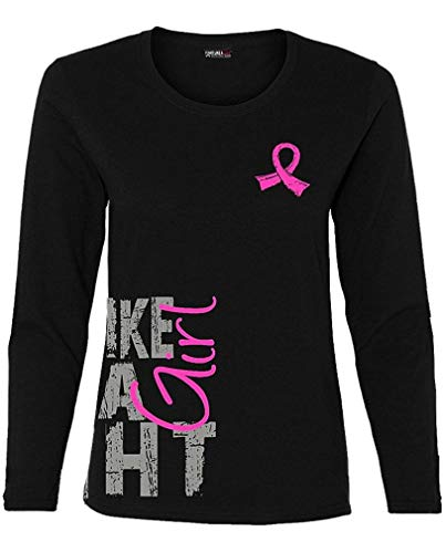 Fight Like a Girl Side Wrap Long-Sleeved T-Shirt Ladies Black w/Pink [M]