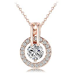 """KEDAR 18k Rose Gold Plated Austrian Crystal Circle Necklace Pendant with 18"""" Chain Christmas Jewelry Gift"""