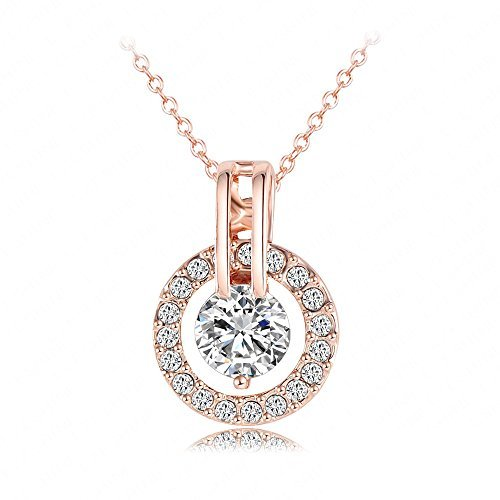 "KEDAR 18k Rose Gold Plated Austrian Crystal Circle Necklace Pendant with 18"" Chain Christmas Jewelry Gift"