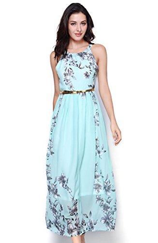 ss Halter Neck Vintage Chiffon Floral Print Maxi Dress AP003 M Green (Chiffon Print Halter Dress)