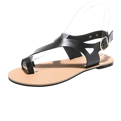 Price comparison product image Mysky Fashion Women Summer Pure Gladiator Soft Beach Flats Shoes Ladies Casual Simple Buckle Sandals Black