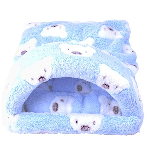 Sleeping Bed Winter Warm Mat House Cage Nest Sleep Pad for Guinea Pig Hamster Hedgehog Squirrel Mice Bunny Small Animals Accessories (L, Blue) ()