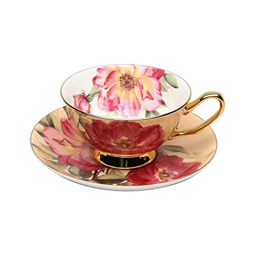 (Keepsake Rose Pattern Bone China Teacup and Saucer Set - Graces Teaware 7 Oz)