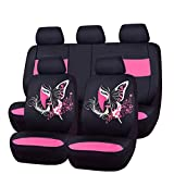 CAR PASS 11PCS Insparation Butterfly Universal Fit Car Seat Covers Set Package-Universal fit for Vehicles,Cars,suvs,vansAirbag Compatiable (Black with Pink)