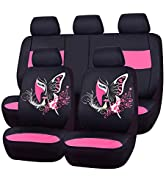 CAR PASS 11PCS Insparation Butterfly Universal Fit Car Seat Covers Set Package-Universal fit for ...