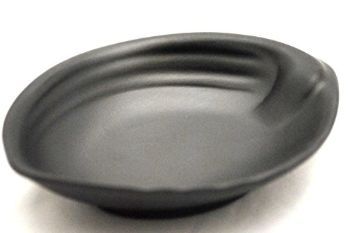 Lucky Star Melamine Oval Soy Sauce Dishes Wasabi Sushi Sashimi Snack Dipping Plates, 4-3/4 inch X 3-1/2 inch or 5-5/8 inch X 4-1/8 inch or 6-1/2 inch X 5 inch, Black, Shell-Like (120, 5-5/8 inch X 4-1/8 inch)