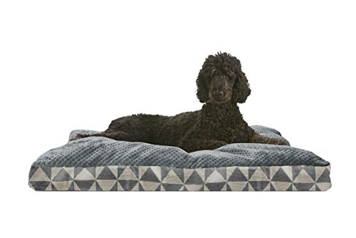 (FurHaven Pet Dog Bed | Deluxe Plush Kilim Pillow Pet Bed for Dogs & Cats, Pyramid Gray, Large )