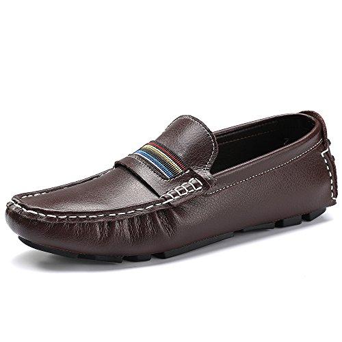 Marrón Barco Pisos Zapatos Conducción Ponerse Mano Hombres Mocasín a Mocasines Hecho VILOCY waHPt6zwq
