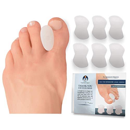 Dr. Fredericks Original Gel Toe Separators - Bunion Pain Relief for Men & Women - 6 Pieces - Medium