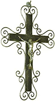 Lorenz Ferart 6058 G Crucifix Wrought Iron Base Sfumato Technique Done by Hand Wrought Iron Silver/Black