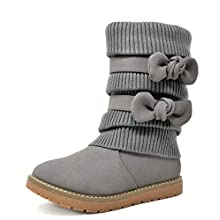DREAM PAIRS Little Kid Klove Grey Pu Faux Fur Lined Mid Calf Winter Snow Boots Size 13 M US Little Kid