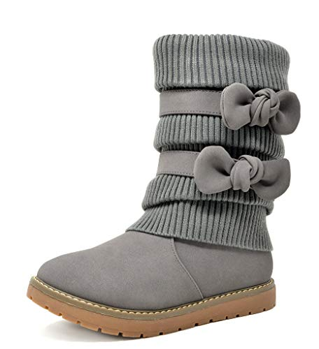 DREAM PAIRS Little Kid Klove Grey Pu Faux Fur Lined Mid Calf Winter Snow Boots Size 3 M US Little Kid