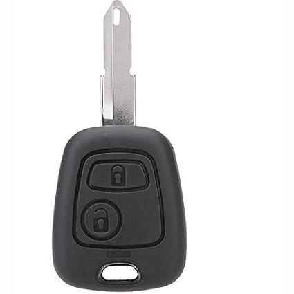 Semoss para 2 Botones Llave Carcasa para Peugeot 206 llave Coche Funda Remoto Fob Cover Negro