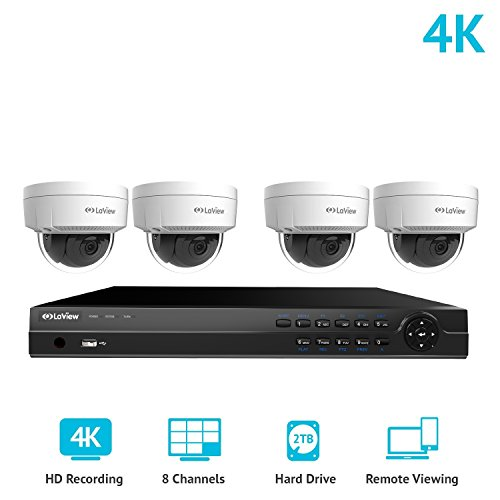 (LaView 8 Channel Ultra HD 4K Home Security Camera System with 4 x 8MP IP Dome Cameras, 100ft Night Vision, Weatherproof Expandable Surveillance Camera System NVR 2TB HDD)