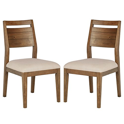 Stone & Beam Hughes Casual Wood Dining Room Kitchen Chairs, Beige, Set of 2 ()