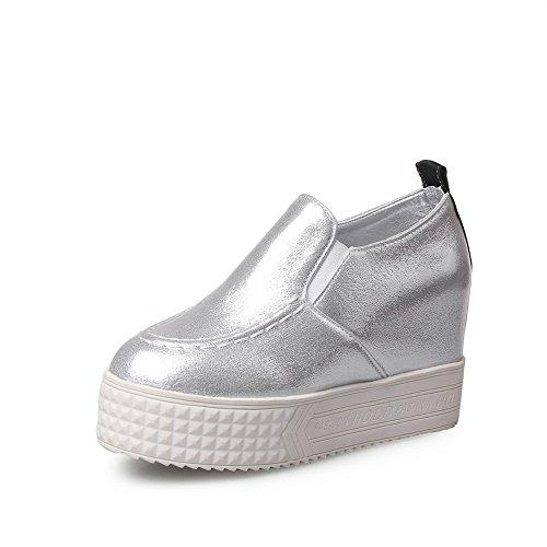 BalaMasa da donna massiccio senza tacco Imitated in pelle pumps-shoes, Argento (Silver), 35