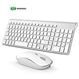 BJL 2.4GHz Wireless Keyboard and Mouse, Ultra Slim Rechargeable Keyboard and Mouse Combo for PC, Laptop,Notebook, Windows XP/Vista/7/8/10-Silver and White
