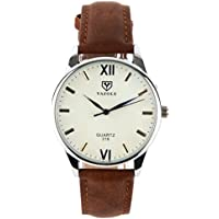 K-Martins Mens Wrist Watch -Quartz Analog Roman Numeral with Classic Brown Leather - Waterproof 10 Years Batteries - Fashion Casual Unique Dress - Business Office Work School Unisex Watches (1unit)