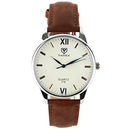 K-Martins Mens Wrist Watch -Quartz Analog Roman Numeral with Classic Brown Leather...