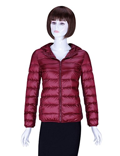 ADAMARIS Down Coats For Women Winter Sale Hooded Packable Ultra Light Weight Jackets Outwear Wine Red XS(US 2) - Edward 2 Light