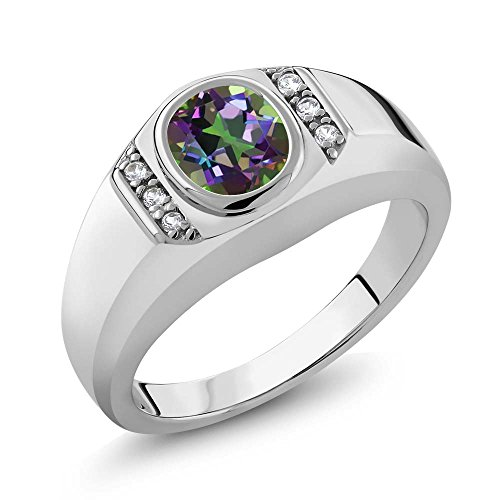 1.36 Ct Green Mystic Topaz White Created Sapphire 925 Sterling Silver Men's Ring by Gem Stone King