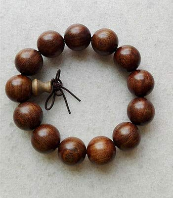 FidgetKute 18MM Men's Nice Fashion Smooth Round Natural Nyatoh Wood Beads Bracelet