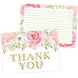 Pink and Gold Floral Thank You Cards, Great for Baby Wedding Bridal Shower, Birthday, Baptism, Any Occasion, 50 Thank You Cards and Envelopes
