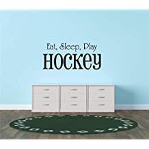 Decal - Vinyl Wall Sticker : Eat Sleep Play Hockey Sports Quote Sign Car Bumper Window Banner Kids Children Boy Girl Team Pride Encouragement Living Room Bedroom Kitchen Home Decor Picture Art Image Peel & Stick Graphic Mural Design Decoration - Discounted Sale Item - Size : 12 Inches X 26 Inches - 22 Colors Available
