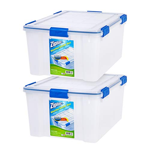 Ziploc WeatherShield 60 Quart Storage Box, 2 Pack, Clear