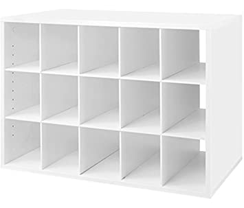 Elegant Organized Living FreedomRail 15 Cubby Shoe Storage Big OBox   White