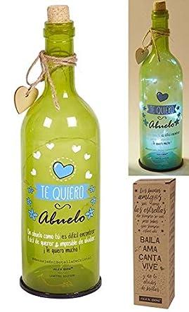 Botella cristal con luces led y mensaje Te Quiero Abuelo (NH-037)