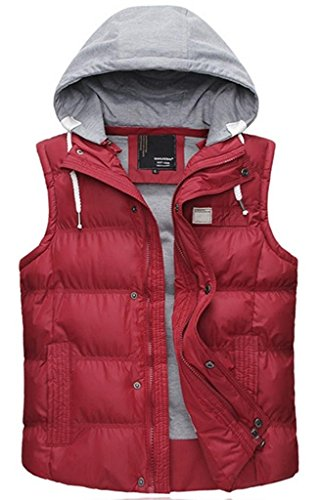 (Wantdo Women's Quilted Thick Puffer Vest Winter Coat Outwear with Hood Large Red)