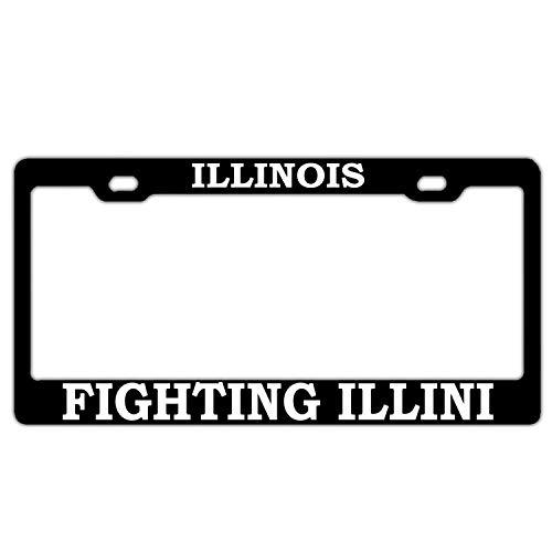 FunnyLpopoiamef Illinois Fighting Illini Black License Plate Frame Car Licenses Plate Cover License Tag Aluminum Metal 2 Hole and Screws