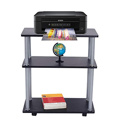 SSLine Mobile 3 Tier Printer Stand Cart Rolling Deskside Fax Machine Stand Shelf Heavy Duty Utility Storage Trolley Car on Wheels for Office Supplies Equipment - Black